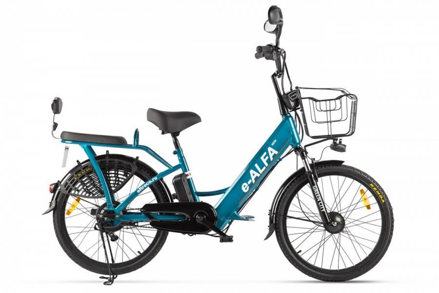 Велогибрид Green City e-ALFA new Голубой